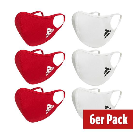 Adidas 6er Set Mund-Nase Maske Erwachsene Rot/Weiß