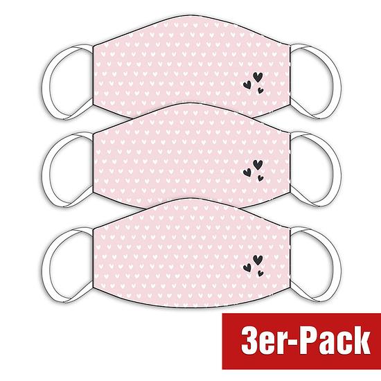 3er Set Mund-Nase Maske Damen Herz Rosa