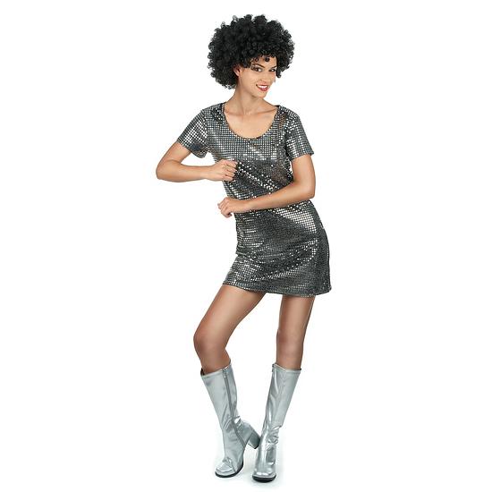 Karnevals- Kostüm Sexy 70er Jahre Disco Damen silber