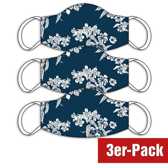 3er Set Mund-Nase Maske Damen Blumen Blau