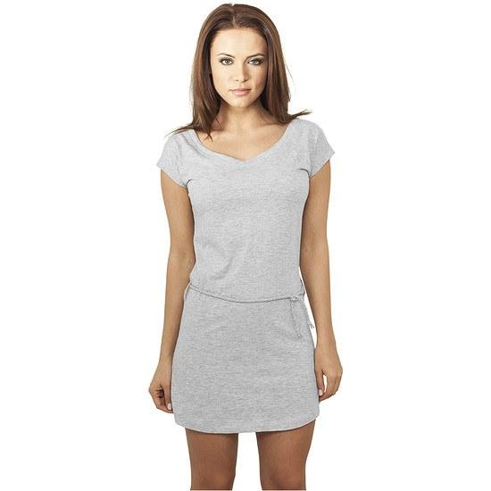 URBAN CLASSICS Dress Slub Jersey Damen Grau