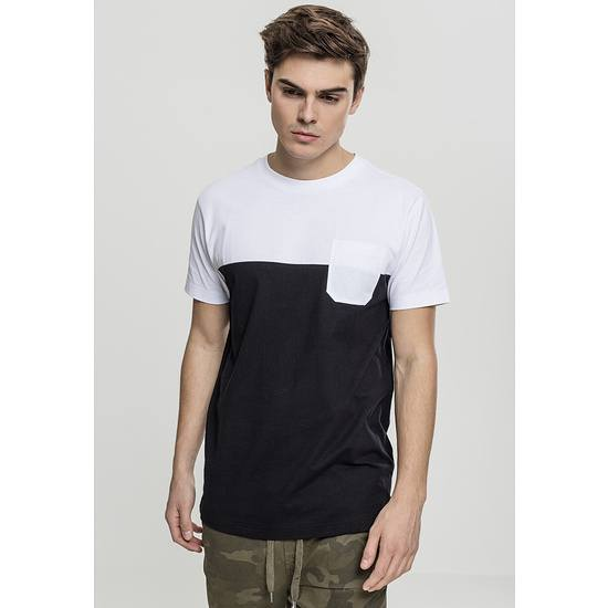 URBAN CLASSICS T-Shirt Color Block Summer Pocket schwarz/weiß