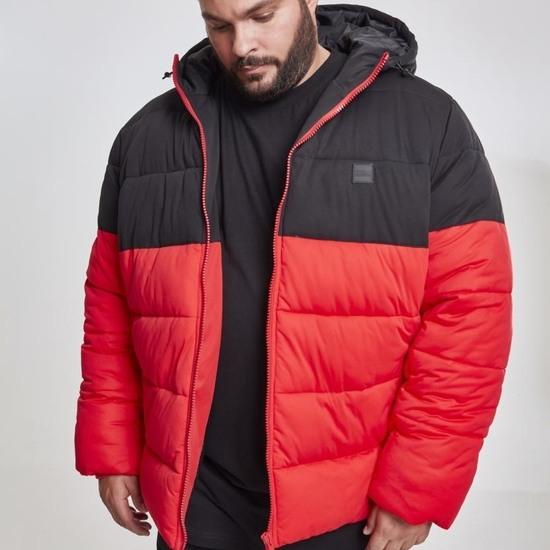 URBAN CLASSICS Winterjacke 2-Tone Hooded Puffer rot/schwarz