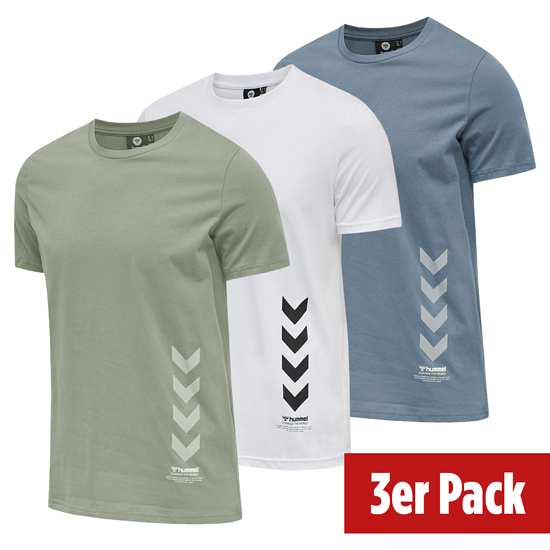 hummel 3er Set T-Shirt Duncan Bio-Baumwolle china blue/weiß/vetiver
