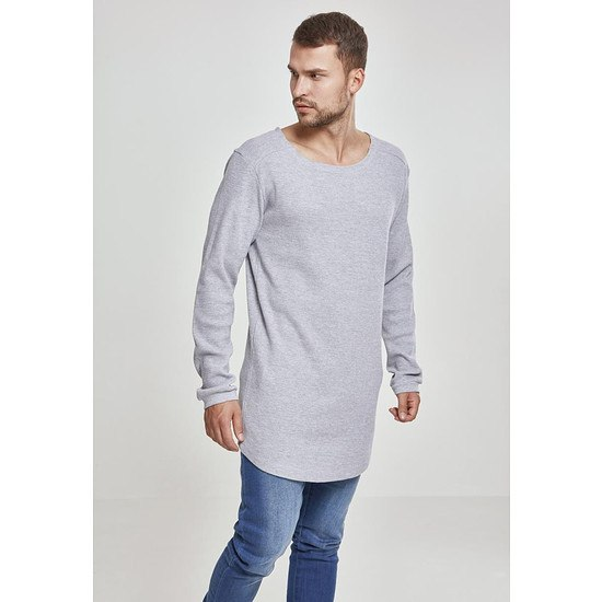 URBAN CLASSICS Sweatshirt Long Shaped Waffle Grau