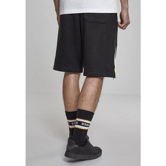 URBAN CLASSICS Sweatshorts Stripe schwarz/weiß/gelb