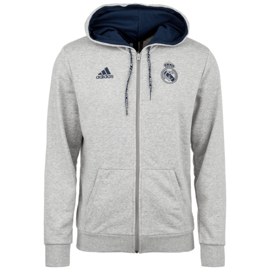 Adidas Real Madrid Kapuzenjacke Team grau/dunkelblau