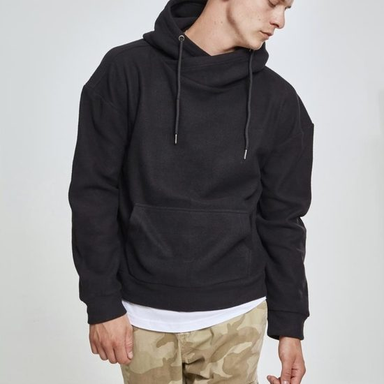 URBAN CLASSICS Hoodie Polar Fleece High Neck schwarz