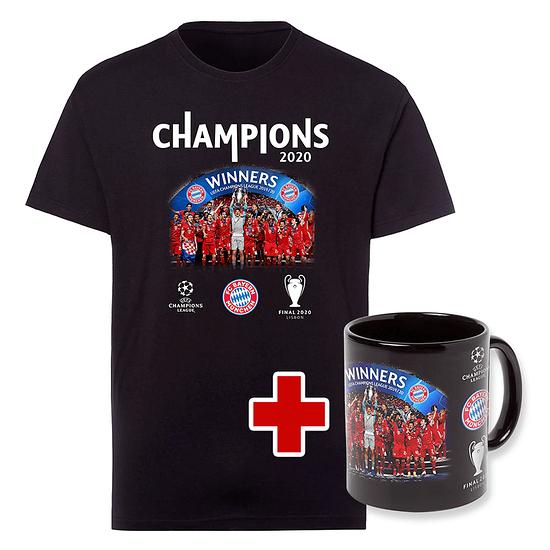 FC Bayern München T-Shirt CHAMPIONS 2020 + Tasse Champion Schwarz/Schwarz