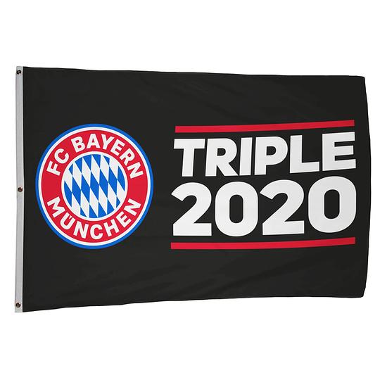 FC Bayern München Hissfahne Triple 2020 (180x120 cm) Schwarz