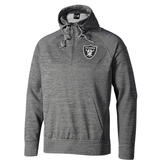 New Era Oakland Raiders Hoodie Halfzip grau