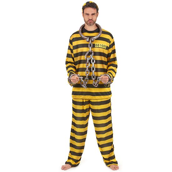 Karnevals- Kostüm Sträfling Gefangener schwarz/gelb