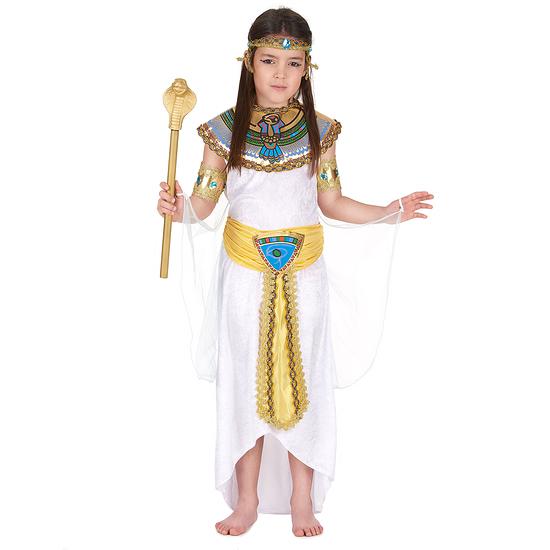 Karnevals- Kostüm Ägypterin Pharaonin Kinder weiß/gold/bunt