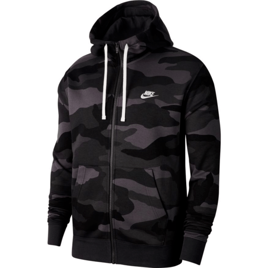 Nike Kapuzenjacke Club Fleece Camo Anthrazit