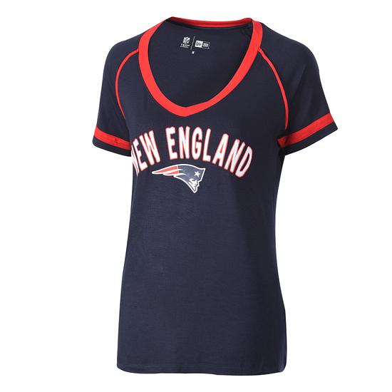 New Era New England Patriots T-Shirt V-Neck Damen blau