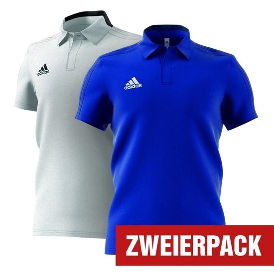Adidas Polo Shirt CONDIVO 18 Set 2er Pack Blau/Weiß