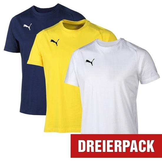 Puma T-Shirt LIGA Set 3er Pack Dunkelblau/Gelb/Weiß