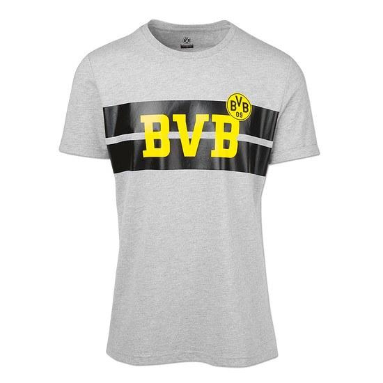 Borussia Dortmund T-Shirt Brustring Grau/Schwarz
