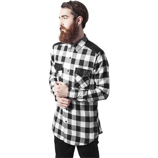 URBAN CLASSICS Hemd Side Zip Leather Shoulder Flanell schwarz/weiß