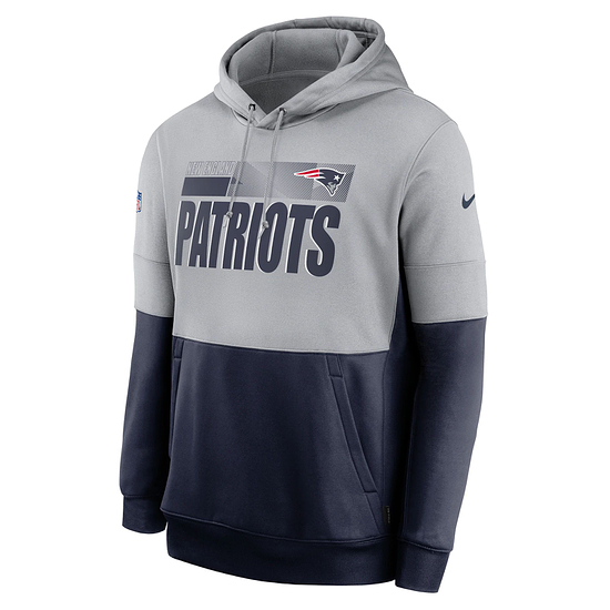 Nike New England Patriots Hoodie Team Lockup Therma grau/college navy