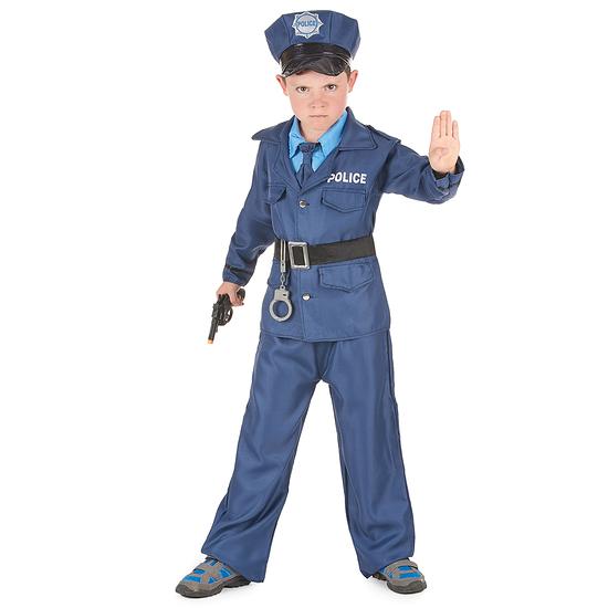 Karnevals- Kostüm Polizist Kinder blau/schwarz
