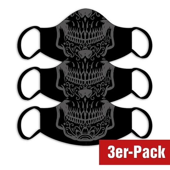 3er Set Mund-Nase Maske Mexiko Erw. Schwarz