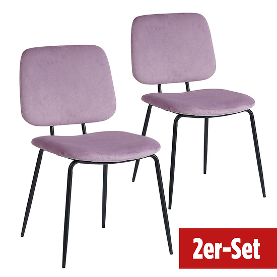 BREAZZ Stuhl School Velvet 2er Set pink