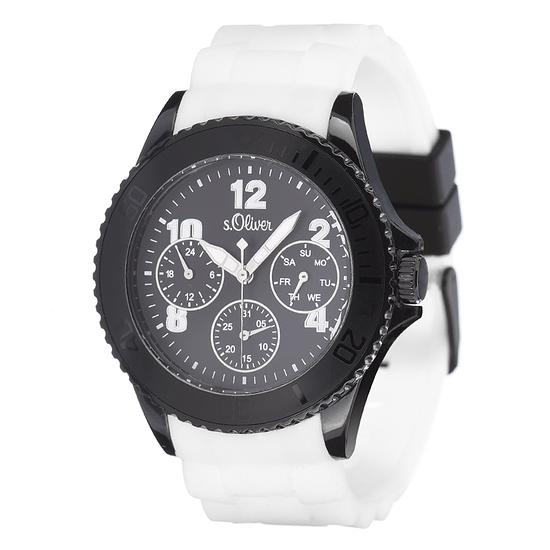 S. Oliver Herrenuhr Multianzeige sportliches Silikon Armband Schwarz/Weiß