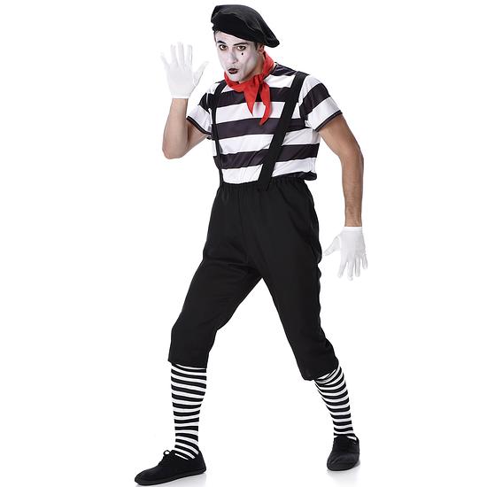 Karnevals- Kostüm Pantomime schwarz/weiß