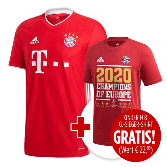 Adidas FC Bayern München Kinder Set Heim Trikot + Shirt CL Sieger 2020 Rot