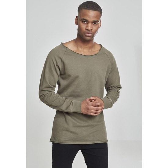 URBAN CLASSICS Sweatshirt Long Open Edge Terry Olive