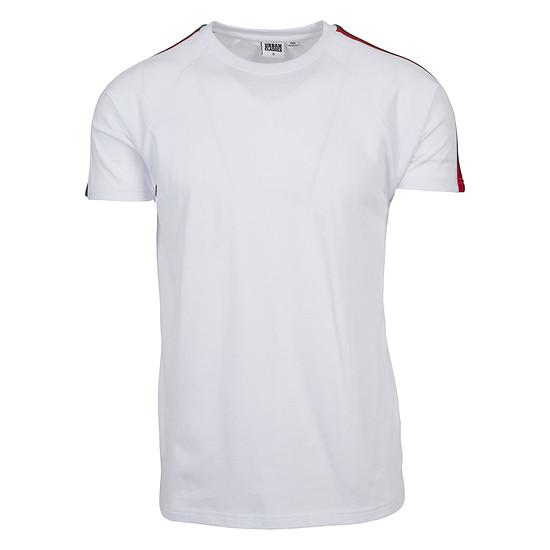 URBAN CLASSICS T-Shirt Stripe Shoulder Raglan weiß/rot/grün