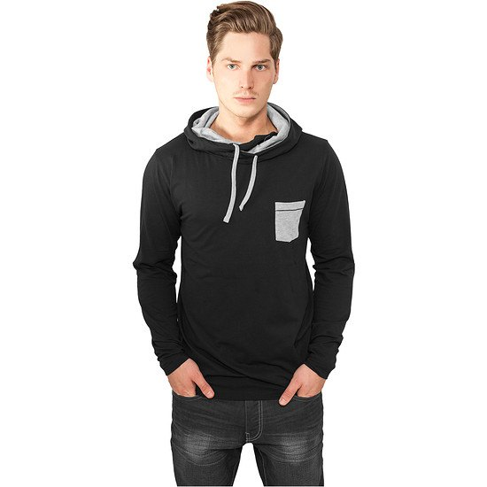URBAN CLASSICS Hoodie High Neck Pocket schwarz/grau