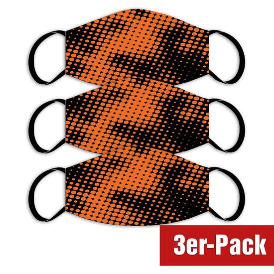 3er Set Mund-Nase Maske Erw. Orange/Schwarz