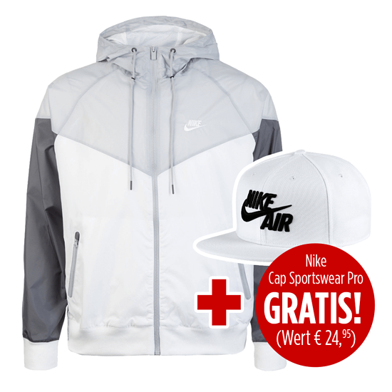 Nike Kapuzenjacke Windrunner mit Cap Sportwear Pro weiß/grau/schwarz