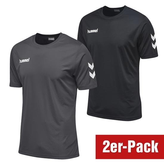 hummel 2er Set T-Shirt Core Poly Schwarz/Grau