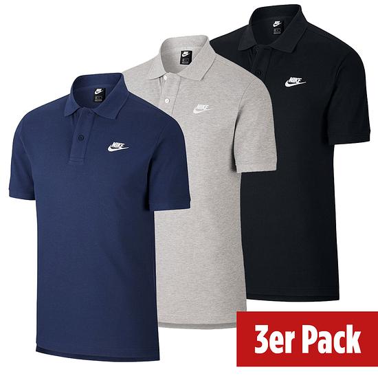 Nike Poloshirt Sportswear UNI 3er Set Schwarz/Grau/Blau