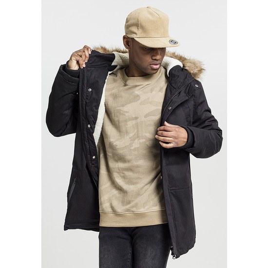 URBAN CLASSICS Parka Heavy Cotton Imitation Fur schwarz