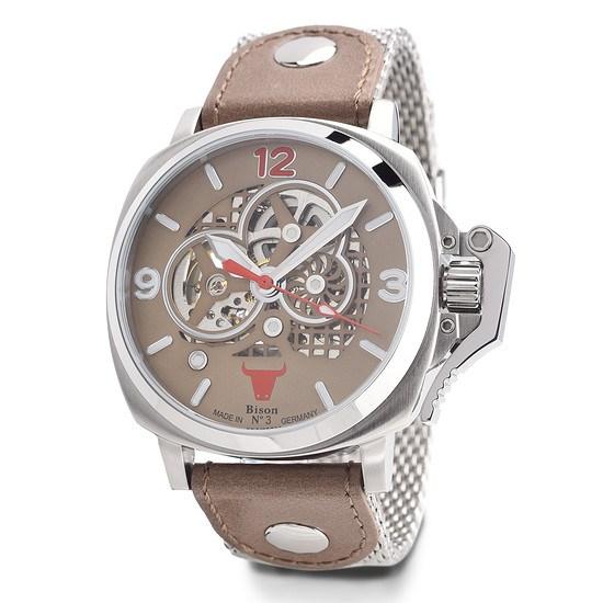 BISON Herren Automatikuhr Bison No. 3 Milanese Armband Braun/Silber