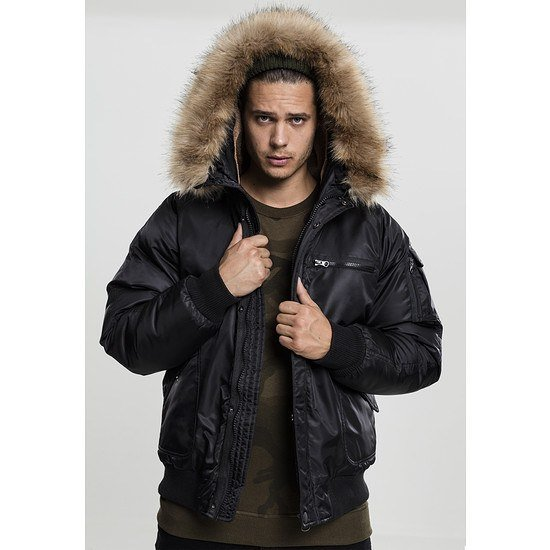 URBAN CLASSICS Bomberjacke Hooded Heavy Fake Fur schwarz