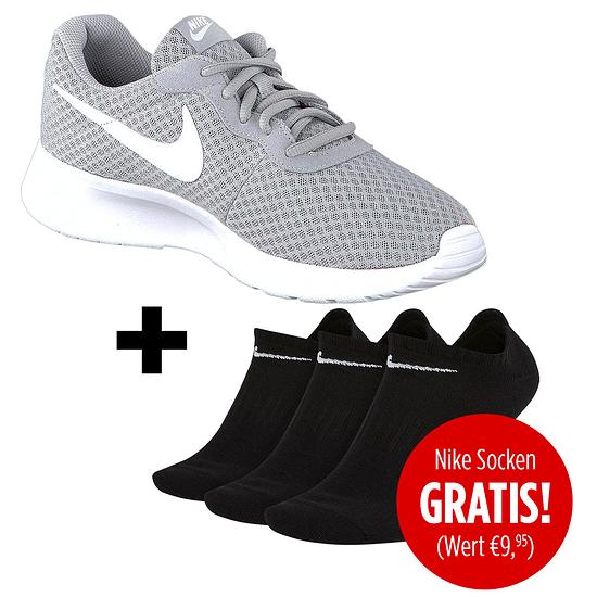 Nike Herren Sneaker Tanjun inkl. 3er Pack Socken gratis Grau