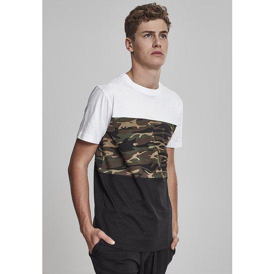 URBAN CLASSICS T-Shirt Color Block schwarz/weiß/camo