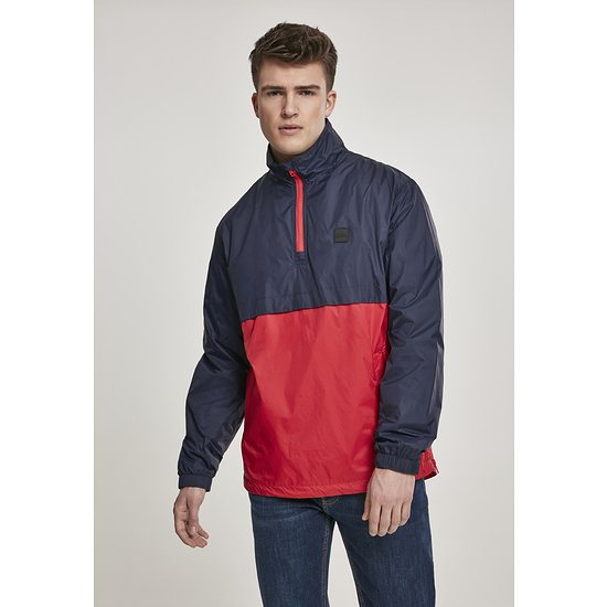 URBAN CLASSICS Überziehjacke Stand Up Collar Pull Over navy/rot