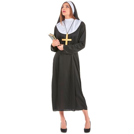 Karnevals- Kostüm Nonnen Schwester für Damen schwarz/weiß