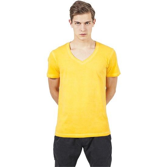 URBAN CLASSICS T-Shirt Spray Dye V-Neck Gelb