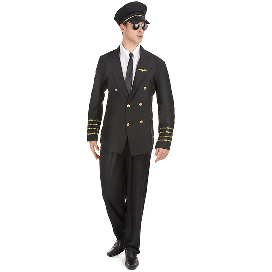 Karnevals- Kostüm Nobler Kapitän Pilot schwarz