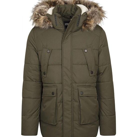 URBAN CLASSICS Winterjacke Faux Fur Hooded oliv