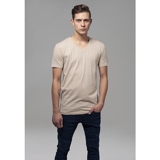 URBAN CLASSICS T-Shirt Basic V-Neck sand