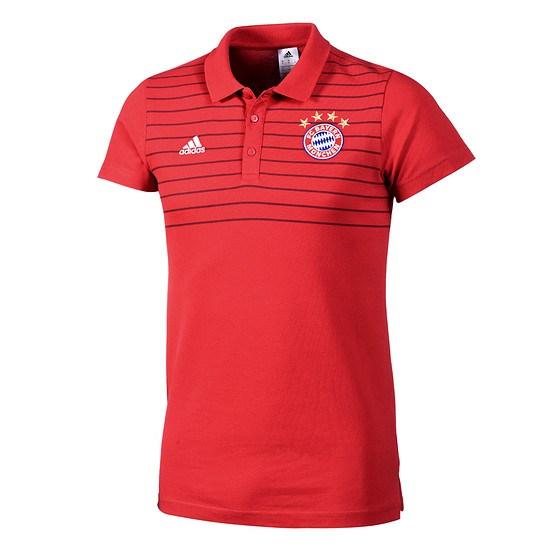 Adidas FC Bayern München Polo-Shirt Streifen Rot
