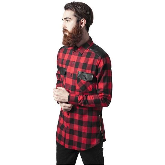 URBAN CLASSICS Hemd Side Zip Leather Shoulder Flanell schwarz/rot